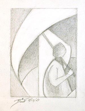 "Rainy Day - 3x4"" graphite on paper"