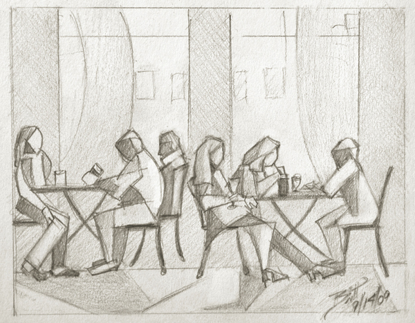 "Restaurant Season - 6.75 x 5.25"" graphite on paper"
