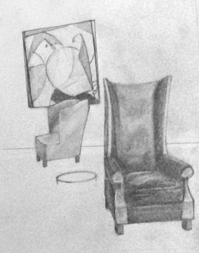 A good chair is hard to find.  Graphite on paper - WORK IN PROGRESS