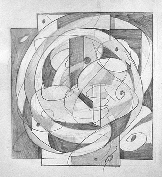"Pencil Meets Paper 8.5 x 9"" Graphite on paper"