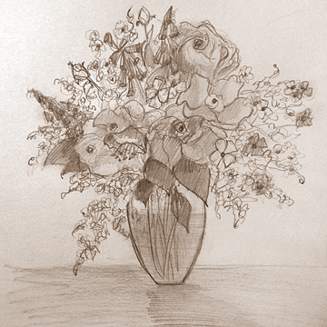 Flowers for you Mom 8.5 x 8.5 Graphite on paper
