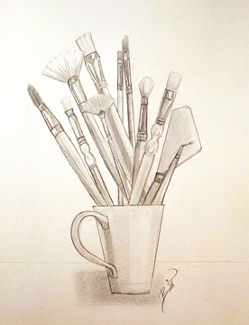 "Cup of Brushes 9x12"" Graphite on paper"