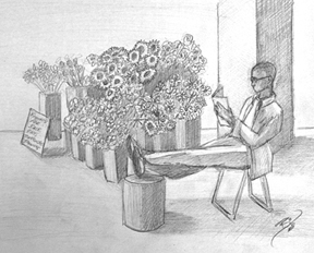 Flowers and a Good Book.  Graphite on paper