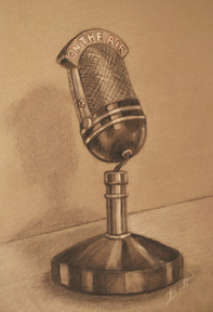 "On the Air 7.5 x 11"" Charcoal and pastel on toned paper"