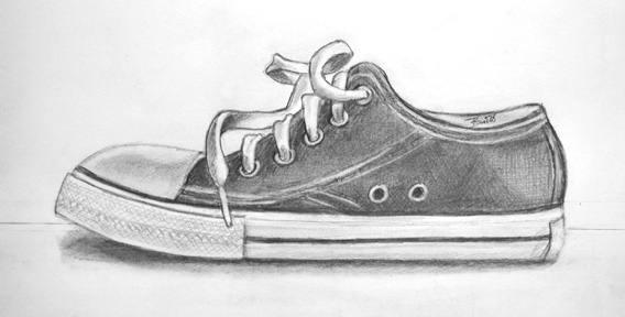 "Keds 10 x 5"" Graphite on paper"