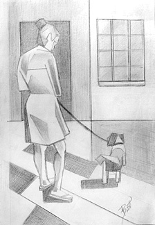 "Walk the Dog 5.5 x 9"" Graphite on paper"