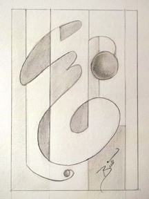 Simple Design 5.25 x 7.5 Graphite on paper
