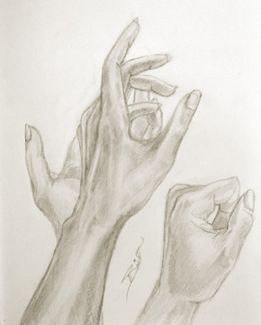 Hands Graphite on paper