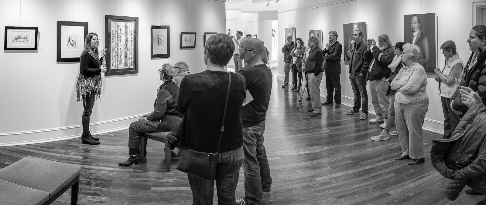 Britt Conley speaking at her opening reception.  Photo by Forrest MacCormack
