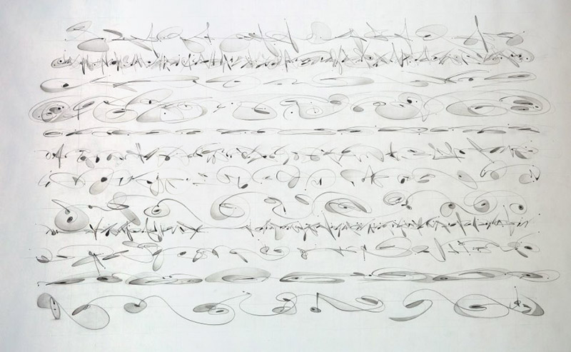 Melodic Rhythm by Britt Conley. Each line illustrates a different melodic gate (where the physics of propulsion meets proportion), structured for different instruments. They are laid out in recital style.