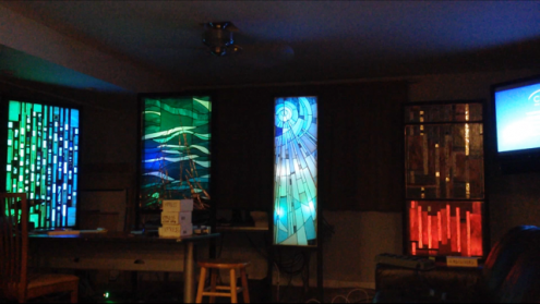 Britt Conley's Stained Glass while testing the lighting