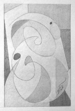 """Abstract #1 6x9"""" Graphite on paper"""