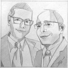 "Friends 8 x 7.75"" Graphite on paper"