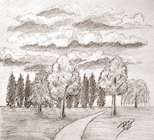 The Weekend Road Trip 8.5 x 7.5 Graphite on paper