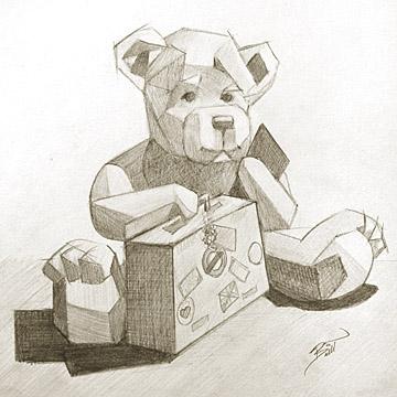 "Fur Bear 9 x 9.5"" Graphite on paper"
