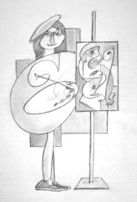 "Painter Girl 6 x 9"" Graphite on paper"