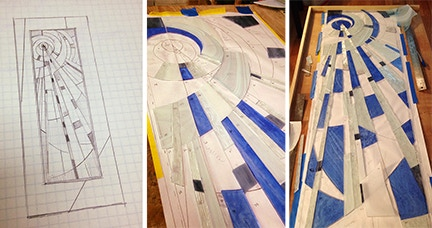 From first sketch to laying the glass down. Working on my first Stained Glass.